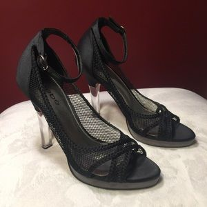 bebe Black Satin Shoes Clear Heel Leather …